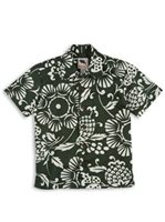 Kahala Duke's Pareo Island Green Cotton Boys Hawaiian Shirt