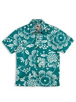 Kahala Duke's Pareo Teal Cotton Boys Hawaiian Shirt