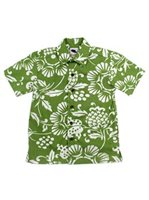 Kahala Duke's Pareo Wasabi Cotton Boys Hawaiian Shirt