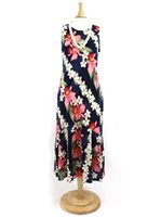 Two Palms Orchid & Plumeria Navy Rayon Hawaiian Long Dress