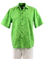Good Times Hawaiian Plant Lime Poly Cotton Men's Loose Aloha Shirt