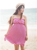 Escapada Chevron Pink Rayon Strapless Short Lani Dress