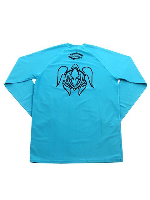 a8a4914c84 SeaHawaii Tattoo Honu Turquoise Monkskin Rash Guard | AlohaOutlet