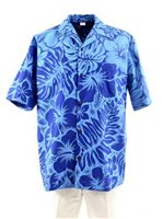 Gradation Medley Navy Poly Cotton Men's Hawaiian Shirt