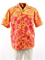 Gradation Medley Orange Poly Cotton Men's Hawaiian Shirt