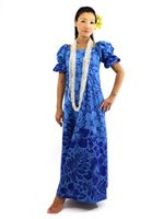Gradation Medley Navy Poly Cotton Hawaiian Long Muumuu Dress