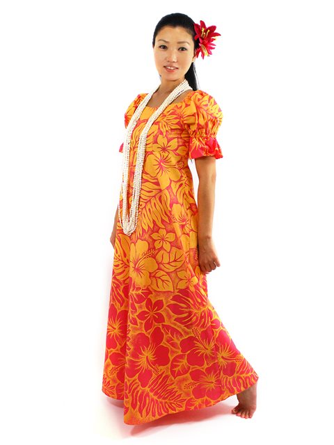 Gradation Medley Orange Poly Cotton Hawaiian Long Muumuu Dress
