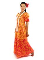 Gradation Medley Orange Poly Cotton Hawaiian Long Muumuu Dress