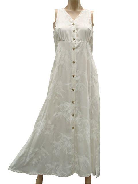 475e63f83fa9 Paradise Found Bamboo White Rayon Hawaiian Long Dress | AlohaOutlet