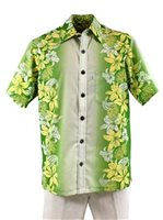 [Exclusive] Royal Hawaiian Creactions Lily Green Poly Cotton Men's Hawaiian Shirt