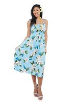 Two Palms Plumeria Light Blue Rayon Hawaiian Summer Midi Dress