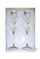Island Heritage Etched Bird of Paradise Champagne Flute Set