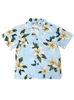 Two Palms Plumeria Light Blue Rayon Boys Hawaiian Shirt