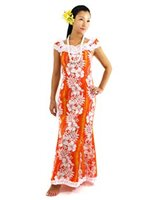 Royal Hawaiian Creations Hibiscus Fern Panel Orange Poly Cotton Hawaiian Nahenahe Ruffle Long Muumuu Dress
