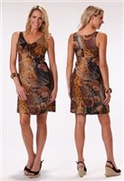Kai Clothing  Nautilus Brown Rayon Tie Knot Short Dress