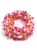 Cherry Pink & Yellow Plumeria Double Headband (Haku Lei)