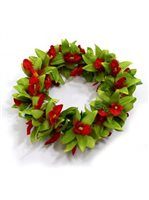 Red & Green Vanda Orchid Double Headband (Haku Lei)