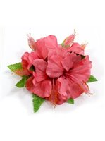 "Pink Hibiscus with Fern Hair Clip 5""x 6.5"""