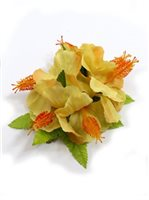 "Yellow Hibiscus with Fern Hair Clip 5""x 6.5"" [60% OFF]"