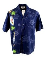 Pacific Legend Surfing Santa Navy Cotton Mens Hawaiian Shirt