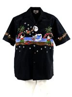Pacific Legend Hula Santa Black Cotton Mens Hawaiian Shirt