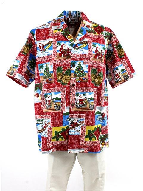 c6e8cfd52 Pacific Legend Hawaiian Christmas Red Cotton Men's Hawaiian Shirt ...