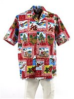 Pacific Legend Hawaiian Christmas Red Cotton Men's Hawaiian Shirt