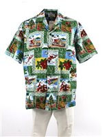 Pacific Legend Hawaiian Christmas Green Cotton Men's Hawaiian Shirt
