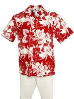 Two Palms Orchid Monstera Red Cotton Men's Hawaiian Shirt