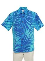 [Exclusive] Anuenue Ginger Turquoise & Royal Poly Cotton Men's Hawaiian Shirt