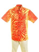 [Exclusive] Anuenue Ginger Yellow & Red Poly Cotton Men's Hawaiian Shirt