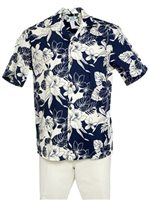 Two Palms Orchid Monstera Navy Cotton Men's Hawaiian Shirt