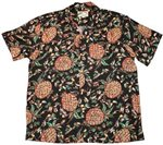 Paradise Found Vintage Pineapple Black Rayon Men's Hawaiian Shirt