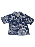 Avanti Kings & Islands Navy Silk Boys Hawaiian Shirt