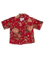 Avanti Pineapple Hut Red Silk Boys Hawaiian Shirt