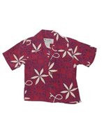 Avanti Blue Hawaii Red Silk Boys Hawaiian Shirt