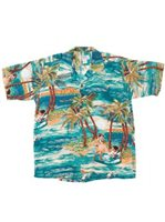 Avanti Hula Blue Silk Men's Hawaiian Shirt