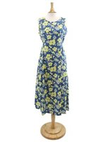Two Palms Pareau Blue & Yellow Cotton Hawaiian Midi Dress