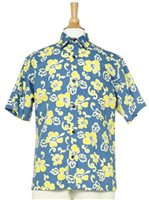 Two Palms Pareau Blue & Yellow Cotton Men's Hawaiian Shirt