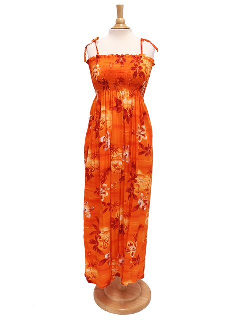 da5996864bc Two Palms Moonlight Scenic Orange Rayon Hawaiian Summer Maxi Dress ...