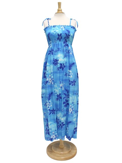 5e1a85d15e5 Two Palms Moonlight Scenic Blue Rayon Hawaiian Summer Maxi Dress ...