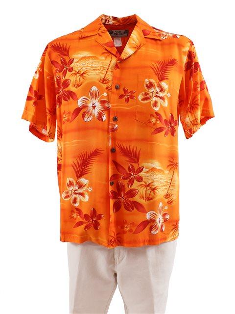 110e89628 Two Palms Moonlight Scenic Orange Rayon Men's Hawaiian Shirt ...
