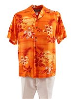 Two Palms Moonlight Scenic Orange Rayon Men's Hawaiian Shirt