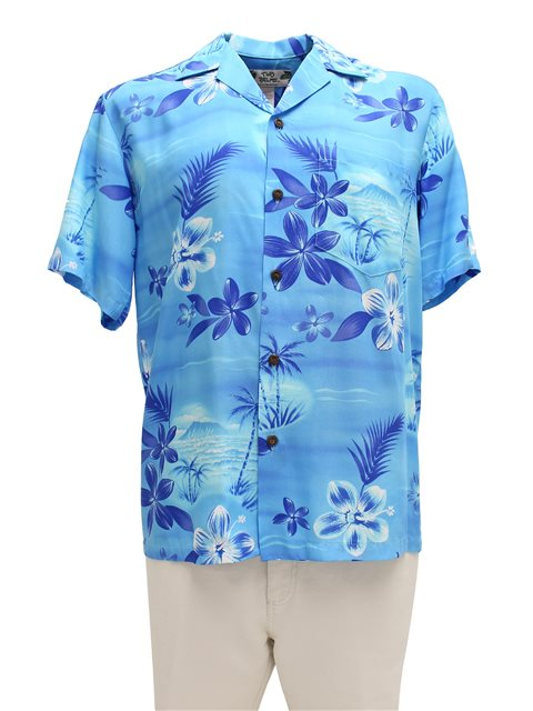e5af166a4 Two Palms Moonlight Scenic Blue Rayon Men's Hawaiian Shirt | AlohaOutlet