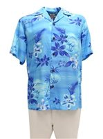 Two Palms Moonlight Scenic Blue Rayon Men's Hawaiian Shirt