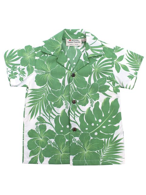 [Exclusive] Hibiscus Panel Green Poly Cotton Boys Hawaiian Shirt