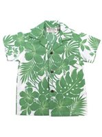 [Exclusive] Royal Hawaiian Creations Hibiscus Panel Green Poly Cotton Boys Hawaiian Shirt
