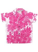 [Exclusive] Royal Hawaiian Creations Hibiscus Panel Pink Poly Cotton Boys Hawaiian Shirt