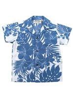 [Exclusive] Royal Hawaiian Creations Hibiscus Panel Blue Poly Cotton Boys Hawaiian Shirt