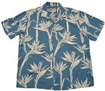 Paradise Found Pareau Paradise Blue Rayon Men's Hawaiian Shirt